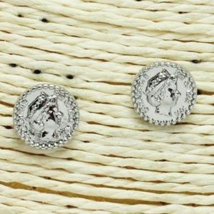SILVER, COIN STUD EARRING